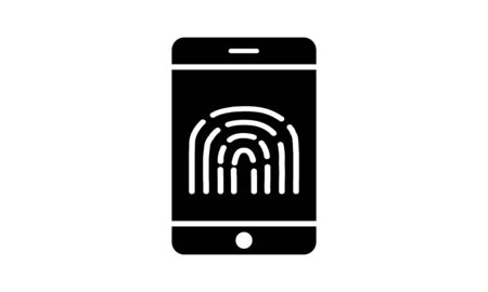 Fingerprint icon with mobile phone smartphone vector image
