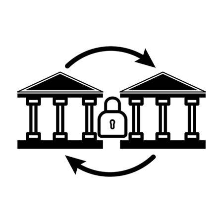 bank to bank money transfer icon Ilustração