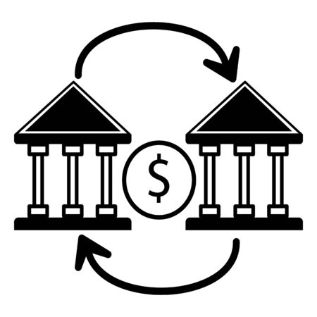 bank to bank money transfer icon.