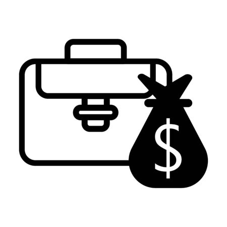 Silhouette business briefcase object with bag vector image