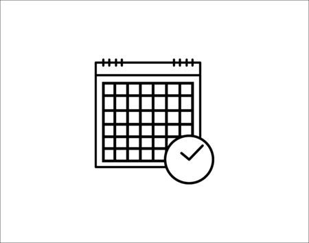 Calendar clock icon line outline art of vector image