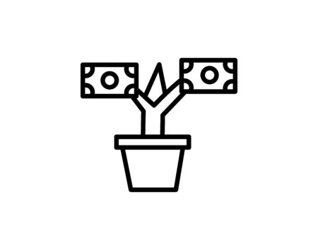 Money tree glyph icon currency and growth vector image Ilustração