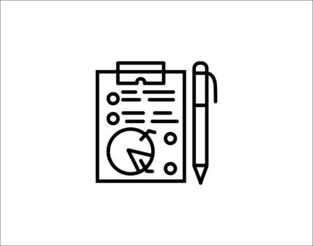 Report document line icon column graph sign vector image Ilustração