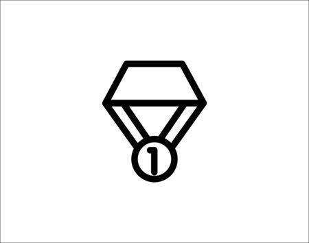 1st place medal line icon vector image Ilustração
