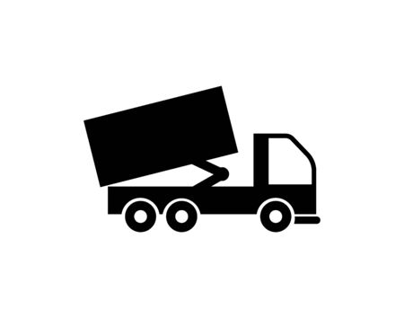 beat tipper truck unloading, mono line icon, load transportation vector - Vector