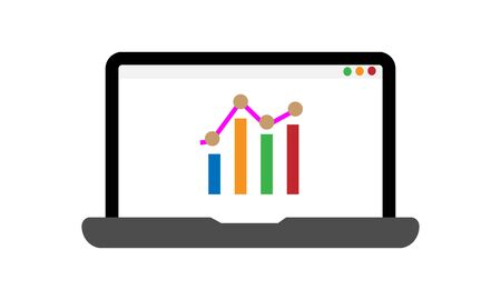 Modern vector icon of traffic growth showed in charts and graphs on a laptop screen. Premium quality vector illustration concept. Flat line icon symbol. Flat design image isolated on white background. Ilustrace