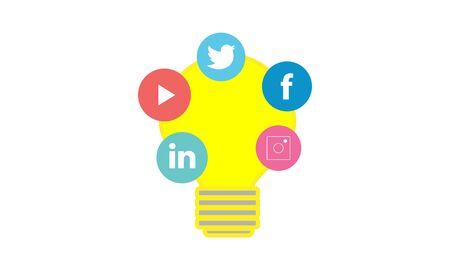 Social media marketing camp concept icon.