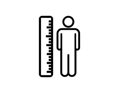 Measuring height body icon on white background vector image
