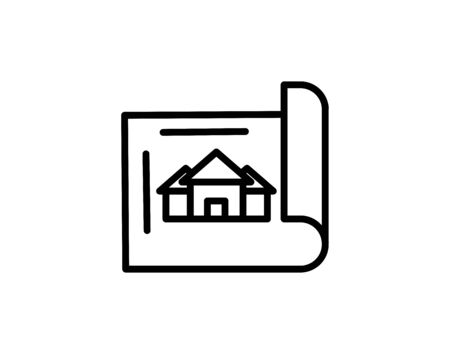 Blueprint roll outline icon vector image