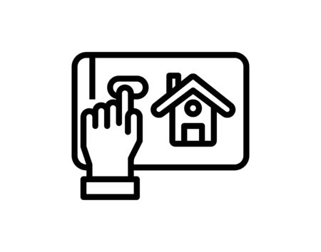 Online house shopping thin line icon, real estate.