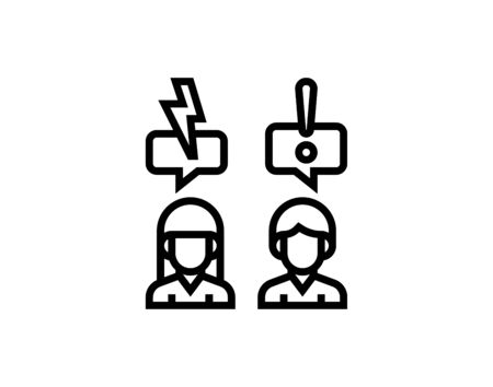 Conflict line icon linear concept outline vector image Ilustracja