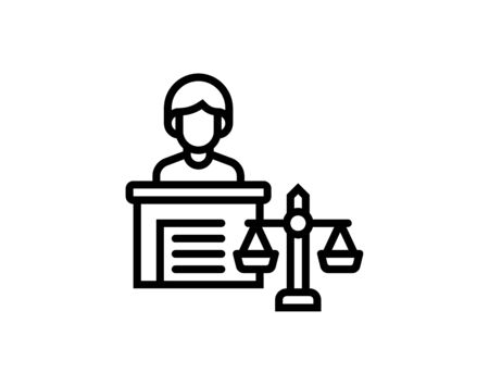 Simple defendant witness line icon symbol and vector image Ilustrace