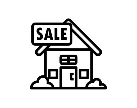 House for sale - line design single isolated icon vector image Illusztráció