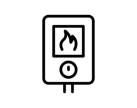 Gas heating black icon sign on isolated vector image