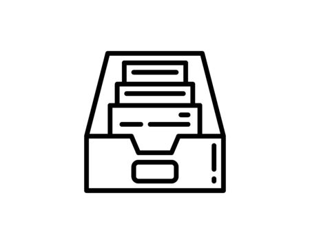 Office File Box Icon, Filing Box Vector Art Illustration A