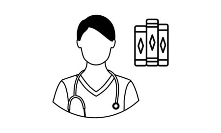 Medical student with stethoscope vector icon