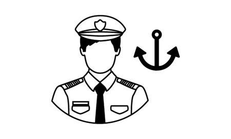 Navy avatar vector icon. Ilustracja