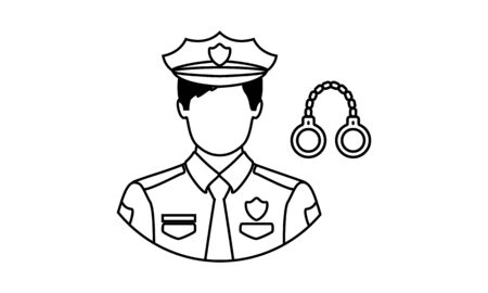 Policeman linear icon. Police officer. Thin line illustration. Contour symbol. Vector isolated outline drawing. Editable stroke