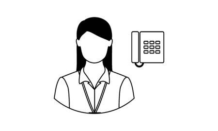 Female receptionist icon in single . Call center, help desk, support