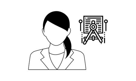 architech icon on white background. Simple element illustration from People concept. architech working icon symbol design.