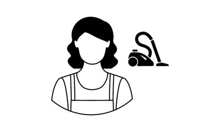 Feman cleaner icon cleaning service worker vector image