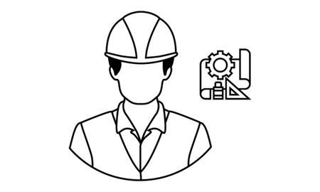 Engineer Icon .Male symbol with helmet on head.