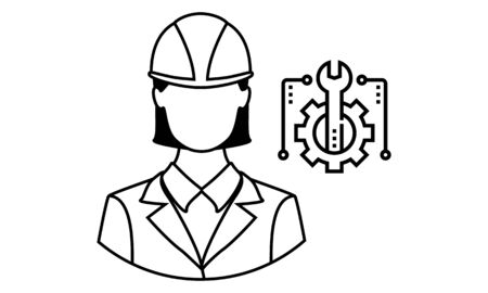 Engineer Icon . Female symbol with helmet on head.