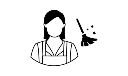 Housemaid or Maid woman uniform icon. Illustration isolated on white background.