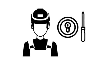 Locksmith Worker Service Vector. Classic Serviceman.