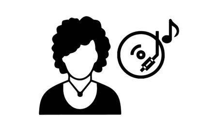 dj icon graphic design , vector illustration Illustration