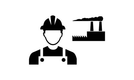 Factory Worker Icon - Contract Labor With Hard Hat Helmet Vector illustration