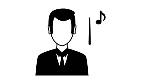 Music orchestra conductor vector illustration