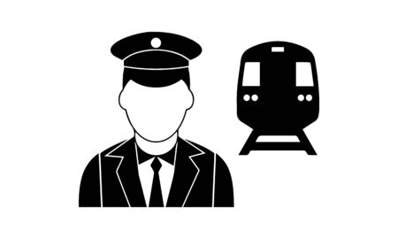 Vector illustration of modern icon depicting a train conductor symbol