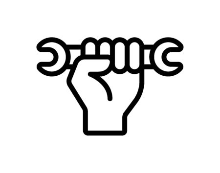 Hand holding wrench icon flat style graphical symbol.