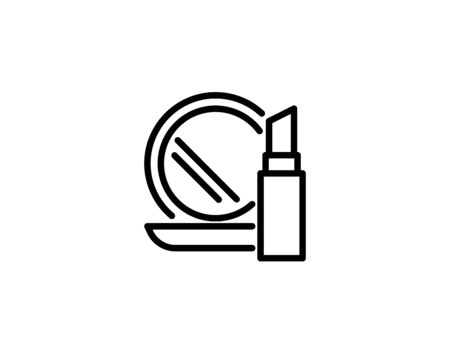Cosmetics vector icon. Lipstick and compact mirror symbol,  illustration. 向量圖像