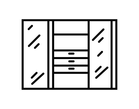 Wardrobe vector icon. Closet furniture filled flat sign for mobile concept and web design. Cupboard glyph icon. Symbol, logo illustration. Pixel perfect vector graphics Ilustracja