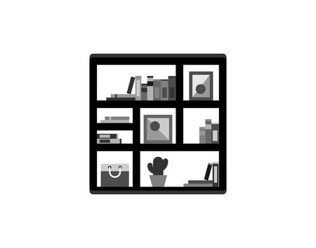 Bookcase library office furniture icon vector image