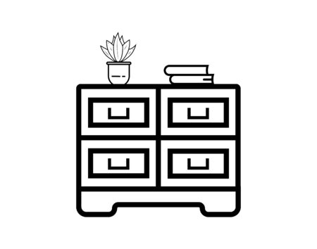 Chest of drawers flat icon vector image