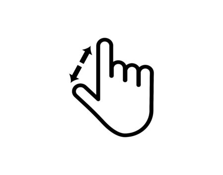 swipe up and down linear icon. hand with finger and arrow. Line with editable stroke - Vector Ilustración de vector