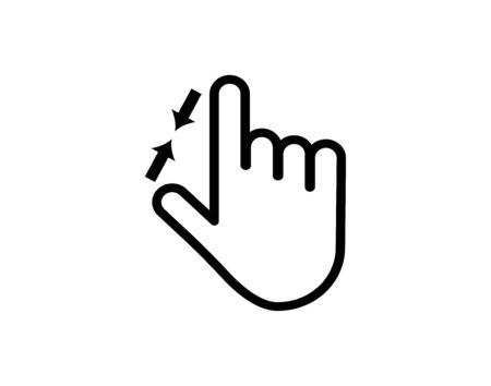 2 finger zoom out in line icon hand gestures vector image