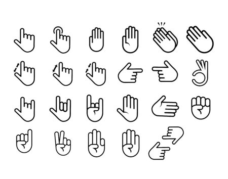 Hand icon set - vector