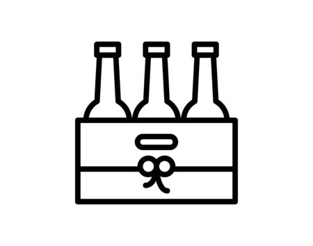 Pack of beer bottles icon on grey background vector image