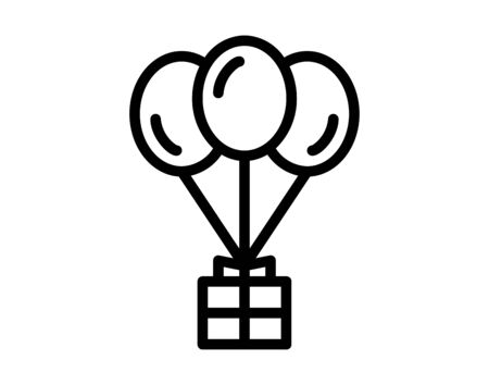 Gift box with balloons icon. Flat design. Vector Illustration
