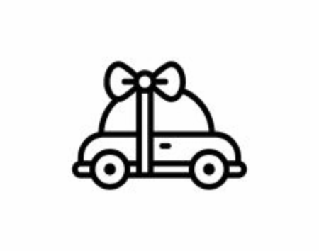 New red car with bow ribbon as a present. Illustration on white background in flat style Illusztráció