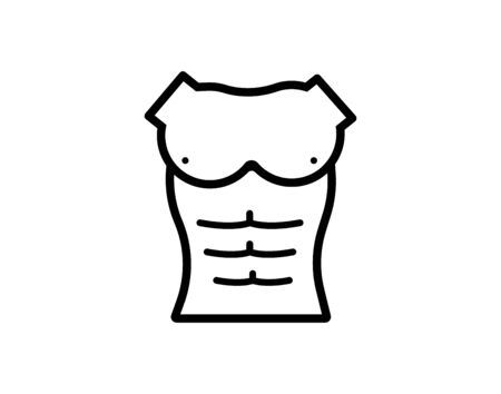 washboard abs. linear icon. male torso. Line with editable stroke