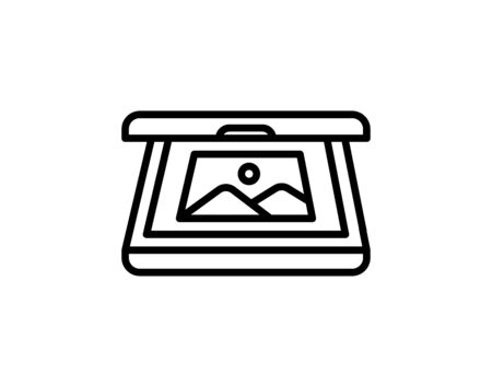 Document scanner line icon, outline vector sign, linear style pictogram isolated on white. Symbol, logo illustration. - Vector