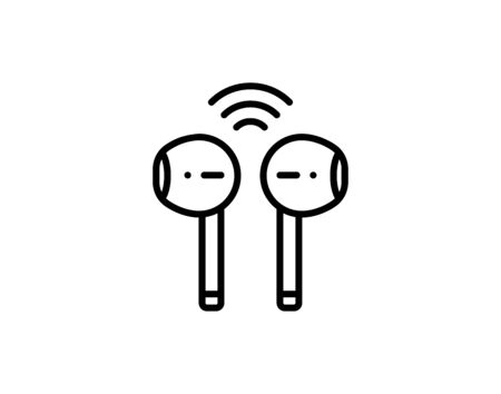 Wireless earphones thin line icon. Modern vector illustration. - Vector