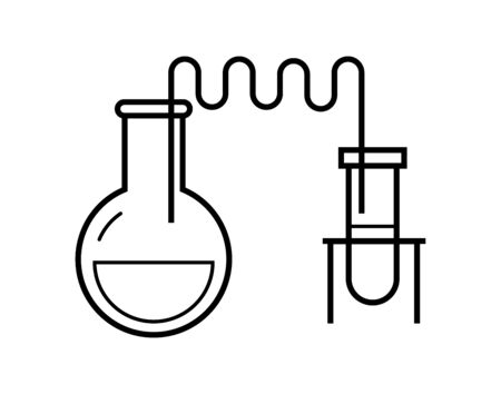 Process of chemical reaction in the scientific laboratory, consisting of flasks and hoses. Vector illustration in a line style. Possible reconfiguration. - Vector