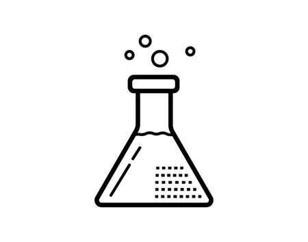 Flask, beaker line icon, outline vector sign, linear style pictogram isolated on white. Chemical laboratory glassware symbol, logo illustration. Editable stroke. Pixel perfect - Vector