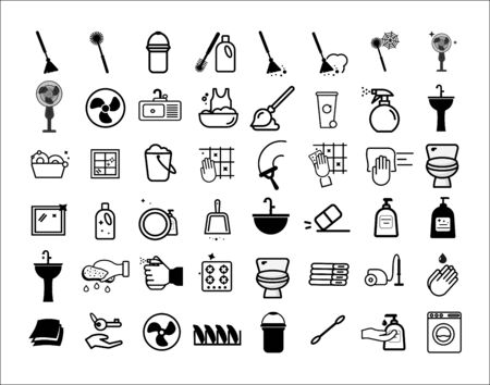 Cleaning service linear icons set. Cleaning products. Napkins, sponge, broom, mop. Window, tile, floor, bathroom, kitchen cleaner. Housekeeping. Isolated vector outline illustrations - vector - Vector